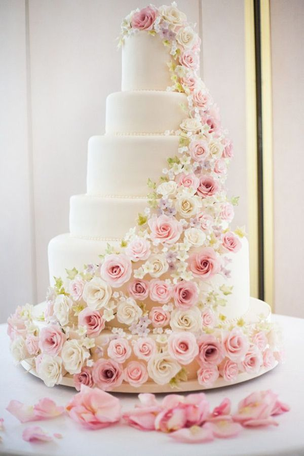 pretty inspiring pink rose tiered wedding cakes