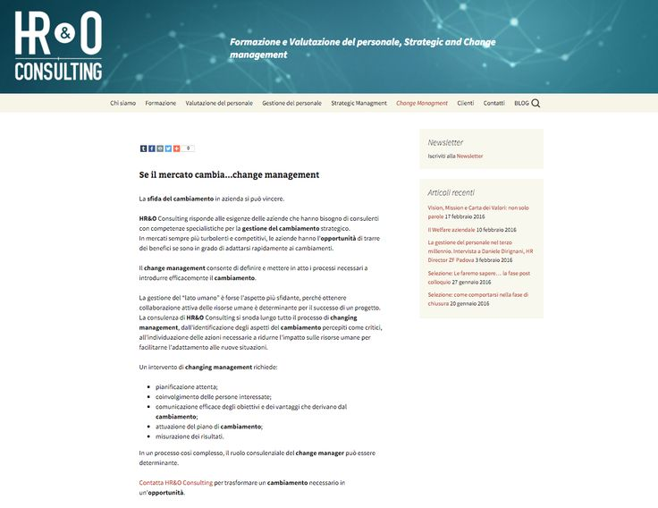 website copy, seo, editorial plan communication strategy com customer: hr&o cosulting, management