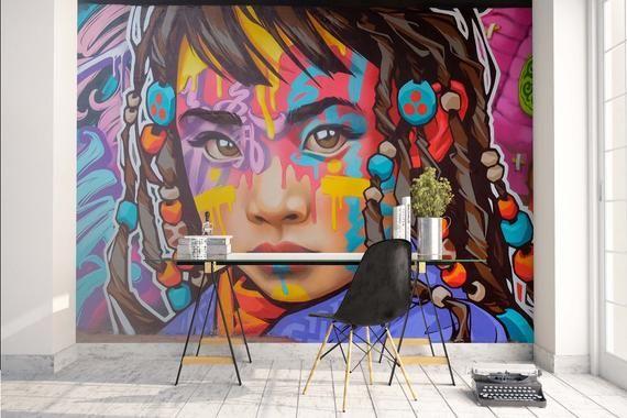 3d Colorful Girl Face Graffiti Wallpaper Mural Peel And Stick Etsy Graffiti Wallpaper Graffiti Wall Mural Wallpaper