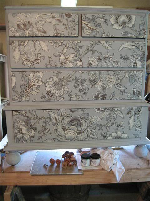 Decoupage Fabric on a dresser finished with Paris Grey Chalk Paint® decorative paint by Annie Sloan | Via Garden Web