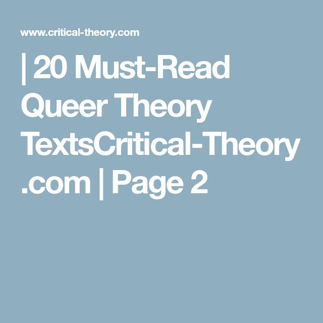 | 20 Must-Read Queer Theory TextsCritical-Theory.com | Page 2