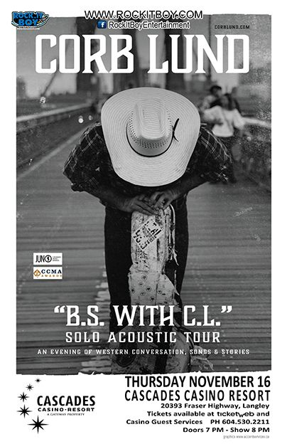 TICKETS ON SALE FRIDAY SEPT 15th!!!  CORB LUND- SOLO ACOUSTIC TOUR