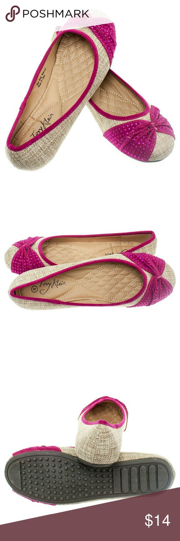 "Women 'Curtsy' Fabric Flats,  b1406, Beige Fuchsia Brand new Tory K light beige - fuchsia woman ballerina flats with a sequined twist in the front. Soft cushioned sole, very comfortable. Bubbled bottom sole for extra traction. A true staple in ladies shoes fashion! Measurements: larger sizes run small. Size 8 measures 9.5"", sz 8.5 - 9 3/4"", sz 9 - 10"", sz 9.5 - 10 1/4"", sz 10 - 10.5"", all half sizes are in 1/4"" increments of each other. Tory K  Shoes Flats & Loafers"