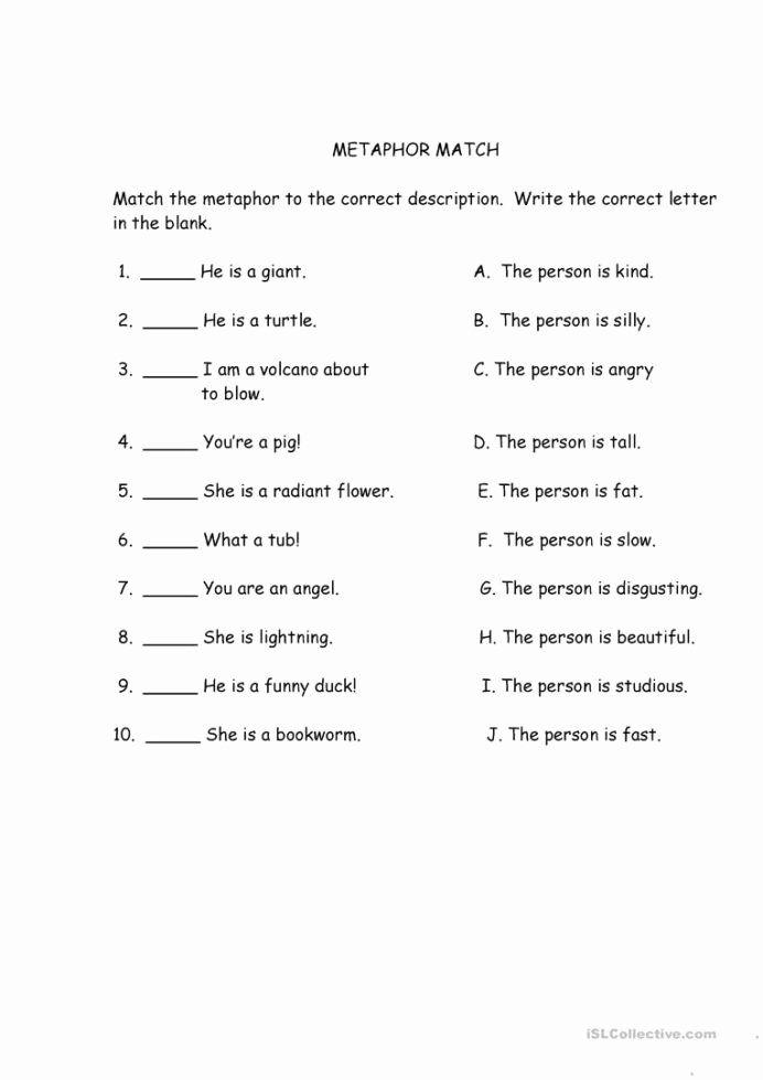 Histogram Worksheets 6th Grade Free Metaphor Match English Esl Worksheets For Distance Similes And Metaphors Figurative Language Worksheet Metaphor Activities