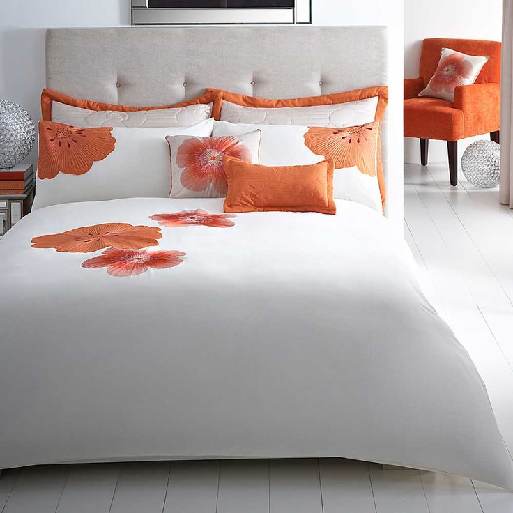 Capri Orange Bedlinen - Beautiful orange flower applique bed linen.  #Bedding #Bedlinen #Spring13