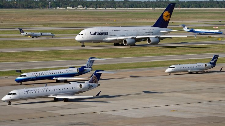 Airbus A380-800 of Lufthansa and Bombardier Jet Size Comparison at Houston George Bush Intercontinental Airport