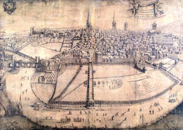 Shrewsbury in the Great Frost. 1739. Engraving. Artist: Unknown. Shrewsbury Museums Service