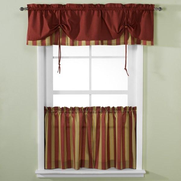 Versa-Tie® Lisa Stripe Window Curtain Tiers And Valance