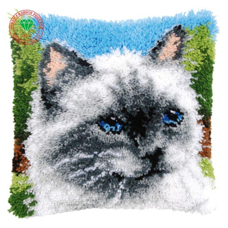 diy mat Cross-stitch Patchwork stitch pillowcase embroidery thread Latch hook rug kits cushion cushion rug home cushion Cat mat #Affiliate