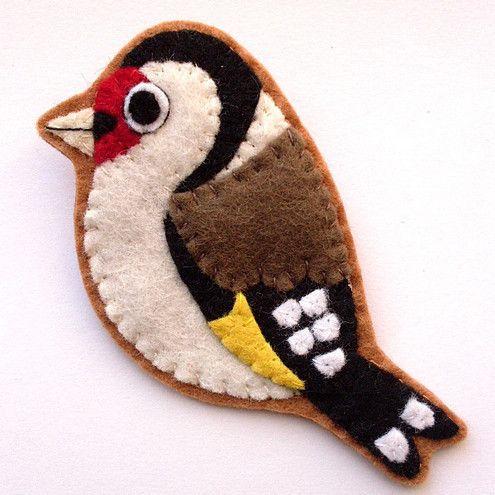 Goldfinch, Felt Bird Brooch - Folksy. Cute!