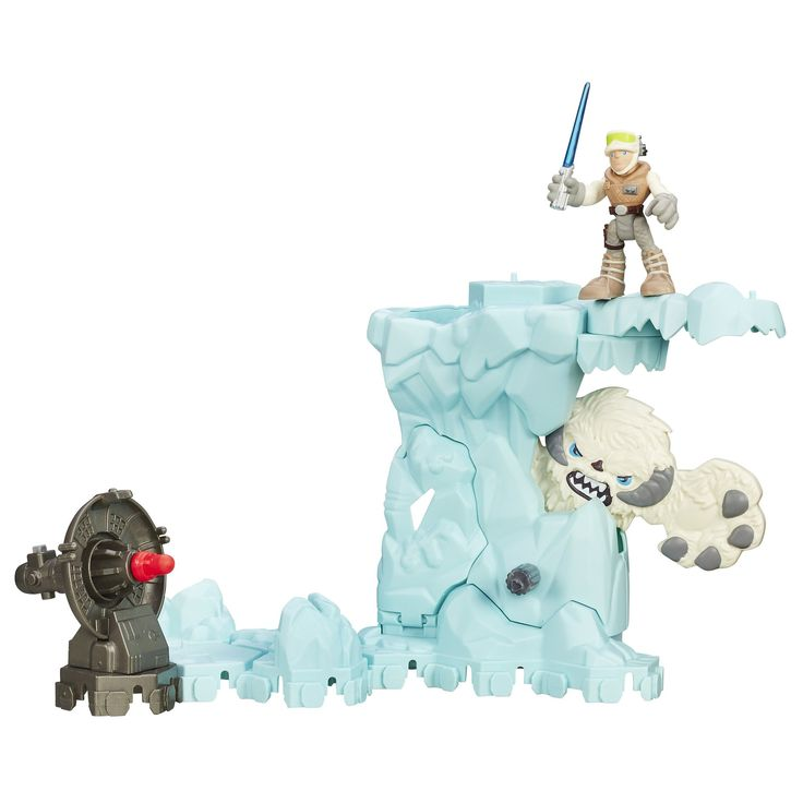 """Playskool Heroes Star Wars Galactic Heroes Echo Base Encounter. Re-positionable playset for epic adventures. Can work with the Endor Adventure set. Luke Skywalker figure sized right for young fans. Twist knob for Wampa """"charge"""". Includes playset, launcher, projectile, and Luke Skywalker figure."""
