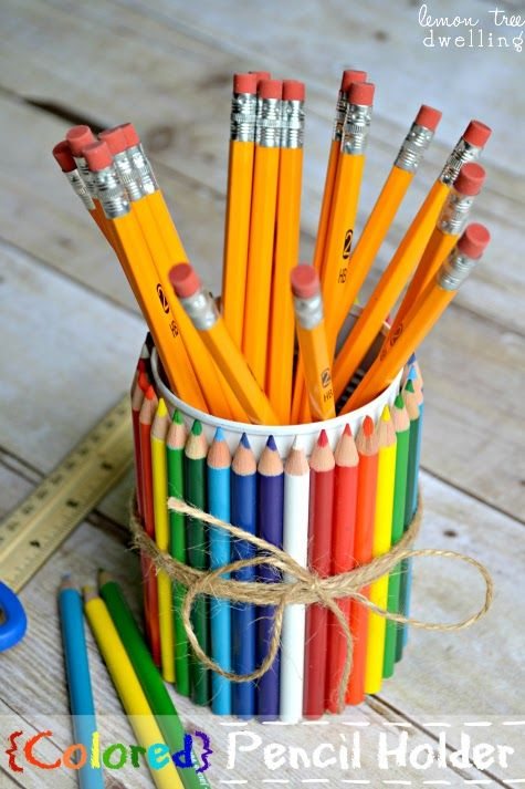 DIY-How Cute is This ?  Colored pencil vase How to by   Lemon Tree Dwelling  Great gift for teacher's desk!