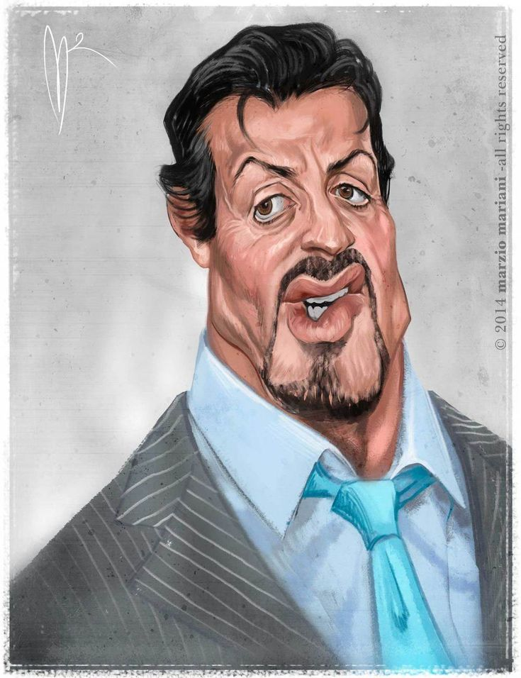 Sylvester Stallone Caricature by Marzio Mariani. #Celebrity #Caricatures #Oddonkey