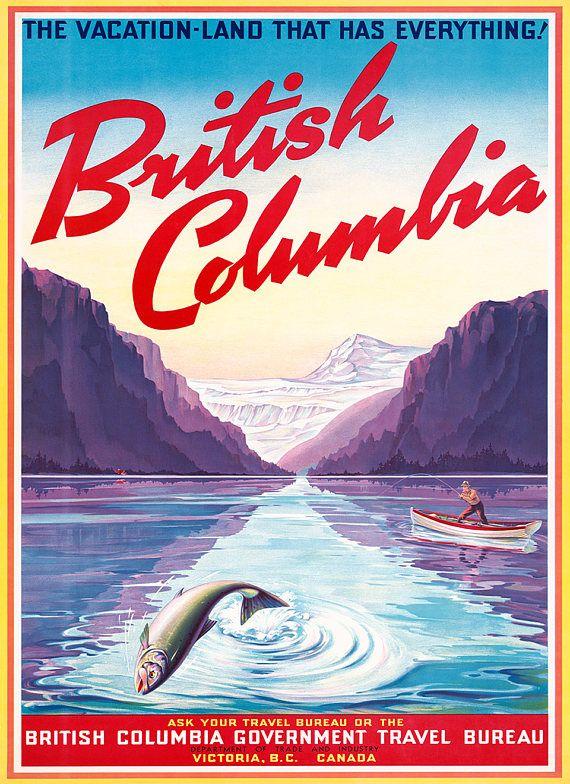 British Columbia Victoria B C Canada Travel Poster C1947s Details Printed On Smooth Enriched Matte Pa Kanada Illyustracii Oformlenie Komnat