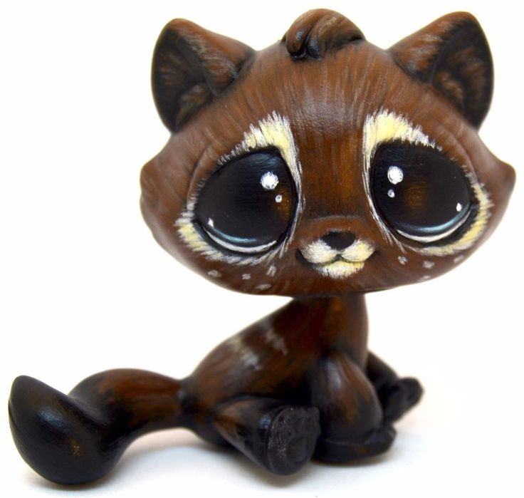 (sold) Shy Coffee Cat - OOAK LPS Custom by theleyline - Hand Painted Littlest Pet Shop Sitting Tabby Cat