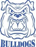 School Mascot Bulldog Clip Art | Bulldog Mascot logo stencil with Bulldogs Text