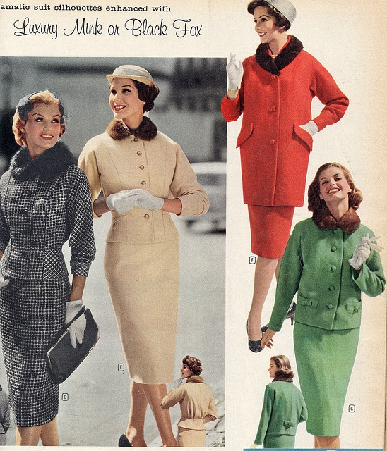 Four different, two piece suits, with fur collars. Just gorgeous! Cold-weather late 1950's fashions. (@1960 Montgomery Wards?)