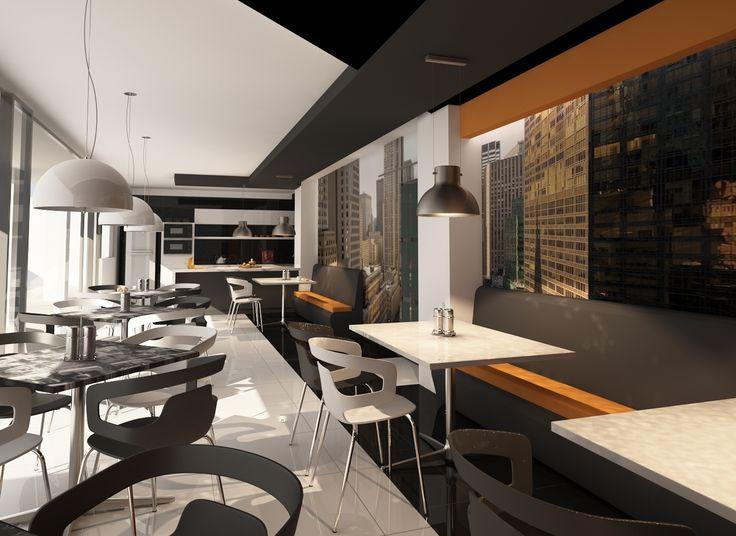 Diseño comercial cafetería moderno contemporáneo.