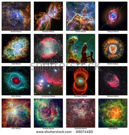 A collection of NASA images digitally enhanced by me of some of the wonderful nebulae of our universe - stock photo