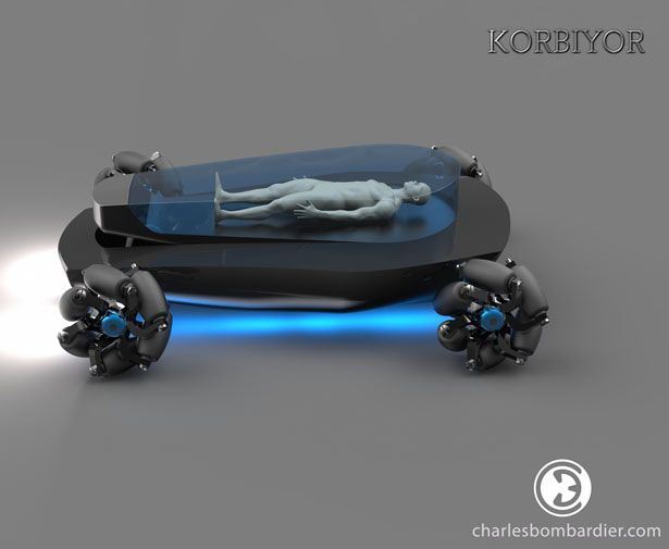 Korbiyor is a futuristic driverless electric hearse mounted mecanum wheels (wheels that can move the vehicle into any direction), it features refrigerated transparent coffin that can be raised or lowered in the vehicle, also multimedia projector, and a surround sound system.