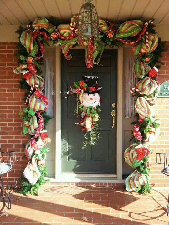 #Christmas You Could Use White Mesh Bath Scrubbies To Make Garland Around ·  Christmas Front DoorsChristmas ...