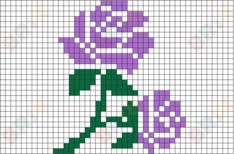 Lavender Rose Pixel Art   Padrão ponto cruz, Ponto cruz ...