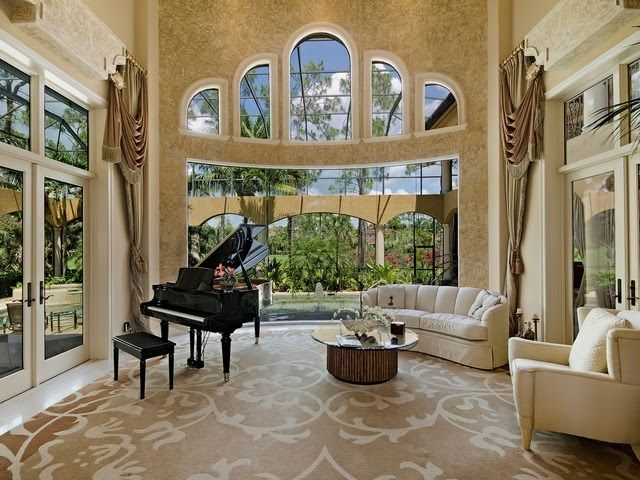Naples luxury home blog traditional living room grand for Grand piano in living room
