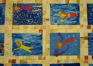 """Tar Beach art:  Faith Ringgold was born in 1930 and grew up in New York City's Harlem.  She is most known for her """"story quilts"""".  She adapted one of these quilts, titled """"Tar Beach"""", into a children's book in 1991. This book was recognized as one of the most distinguished American picture books for children in 1992 when it was named a Caldecott Honor Book."""