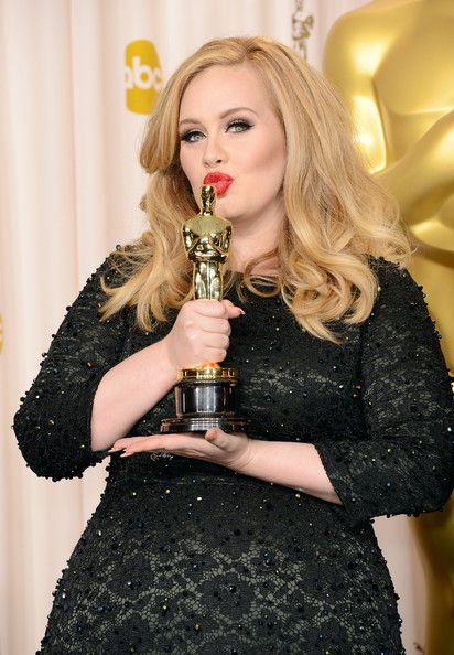 "Adele, winner of the Best Original Song award for ""Skyfall,"" poses in the press room during the Oscars held at Loews Hollywood Hotel on February 24, 2013 in Hollywood, California."