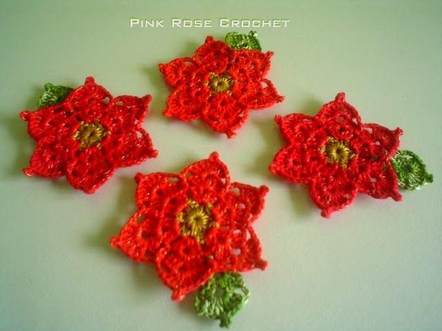 PINK ROSE CROCHET /: Descanso de Copos Flor Crochê de Natal