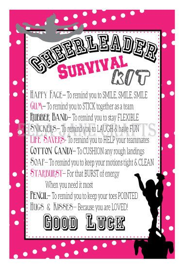This listing is for a instant download of our Cheerleading Survival Kit Gift Labels. Great for those cheer camps, competition gifts, or just a