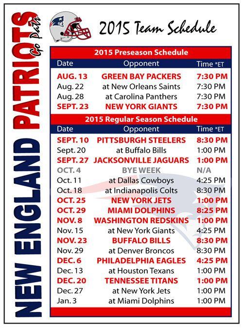 patriots schedule - photo #25