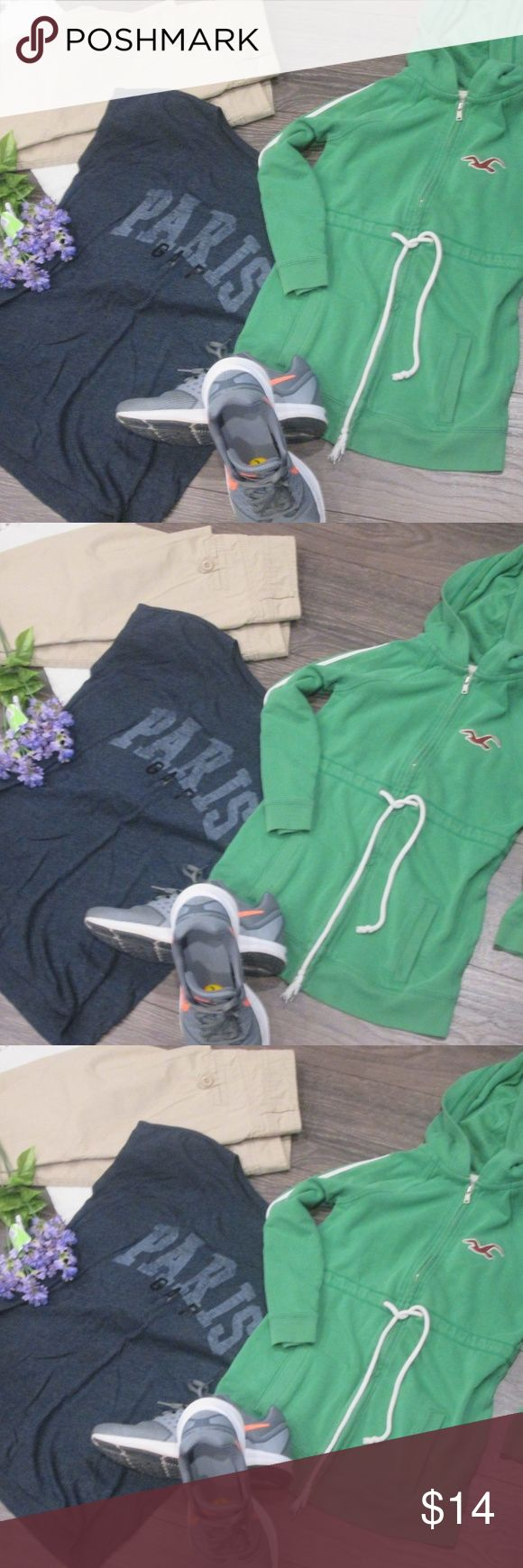 Complete Women's Outfit Pants Khaki + Tee + Hoodie Women's 3 Piece Outfit  1. Maurices Pants Khaki Size 3/4 Regular  2. Gap Tee Dark Grey Size Small Paris  3. Hollister Hoodie Green Size Small  Non smoking home  Purse/Shoes Not Included! Please Inquire for Availability! Hollister Pants Trousers