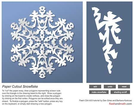 Make your own virtual snowflake - Cut out polygons from the triangle and see the beautiful snowflake patterns emerge. Follow the link to the original page, then double click on the graphic to open up the snowflake maker. Seriously fun and no paper to clean up afterwards!