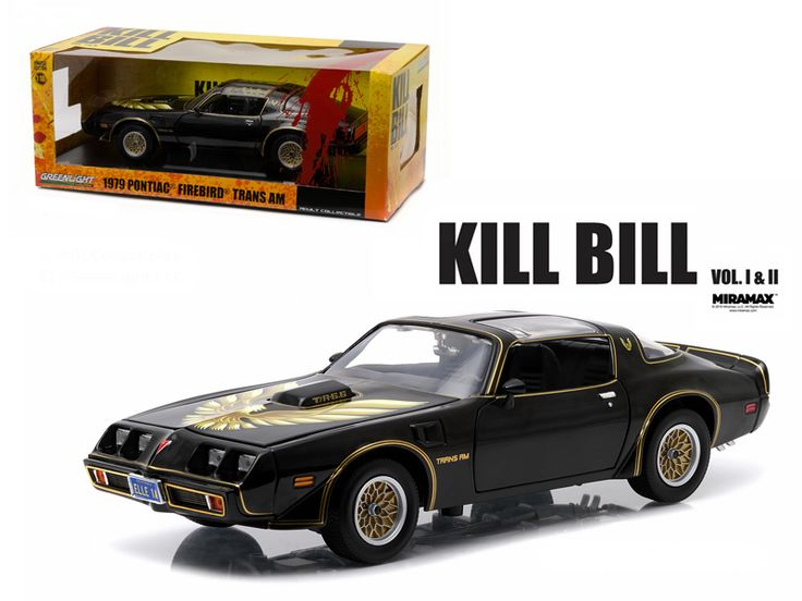 "1979 Pontiac Firebird Trans Am ""Kill Bill Vol. 2"" Movie (2004 ) 1/18 Diecast Model Car by Greenlight - Brand new 1:18 scale diecast car model of 1979 Pontiac Firebird Trans Am ""Kill Bill Vol. 2"" Movie (2004 ) die cast car model by Greenlight. Rubber tires. Brand new box. Serialized chassis. Has steerable wheels. Made of diecast metal. Customized, movie themed packaging. Detailed interior, exterior, engine compartment. Dimensions approximately L-10.5, W-4.5, H-3.5 inches.-Weight: 4. Height…"