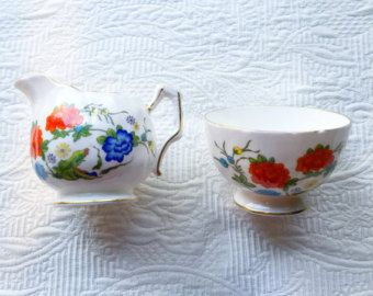 Aynsley Famille Rose Cream and Sugar Set - Edit Listing - Etsy