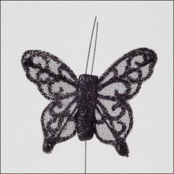 4cm black sheer butterfly finished with glitter and sequins. £14.50 for 24
