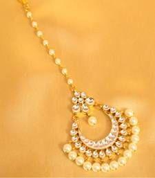 Buy Beautiful patten kundan pearl maang tikka maang-tikka online