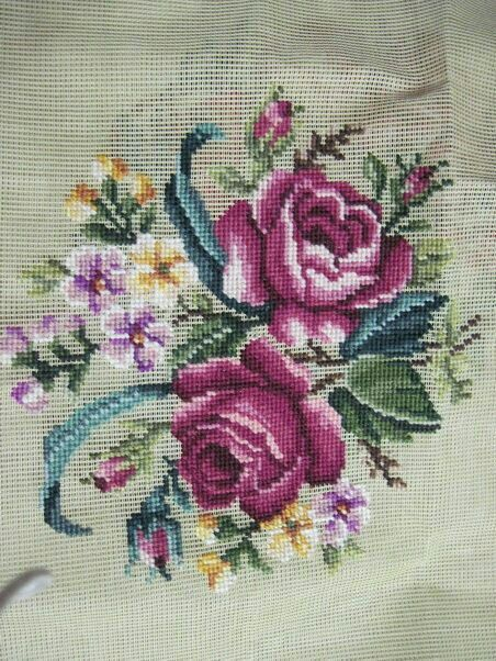 Needlepoint-Canvas-Pre-worked- |