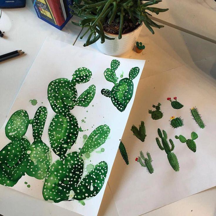 Monday Morning in the studio ! #cactusart #illustration #camillafrancesprints #cactus #prints by camillafrancesprints