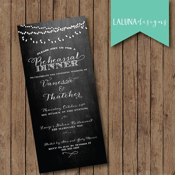 Rehearsal Dinner Invitation, Wedding Rehearsal Dinner Invite, Vintage Lights, Chalkboard, DIY Printable Rehearsal Dinner Invite