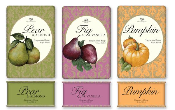 Soap wrapper and carton designs by Sara Burgess, via Behance