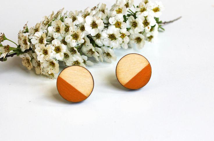 cirkel oorbellen, ronde oorbellen, cadeau voor haar, houten oorbellen, cadeau voor vriendin, simpele oorbellen, oranje door JolisMots op Etsy