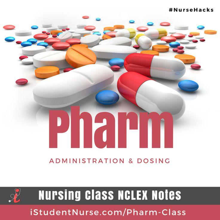 Pharm (Pharmacology) Nursing Class Topics NCLEX Study Notes: Drug classifications, generic/trade names, indications, adverse effects, contraindications, nursing considerations, dosing, & potential nursing diagnoses. Articles for nursing students @iStudentNurse #NurseHacks #Nursing #Pharm