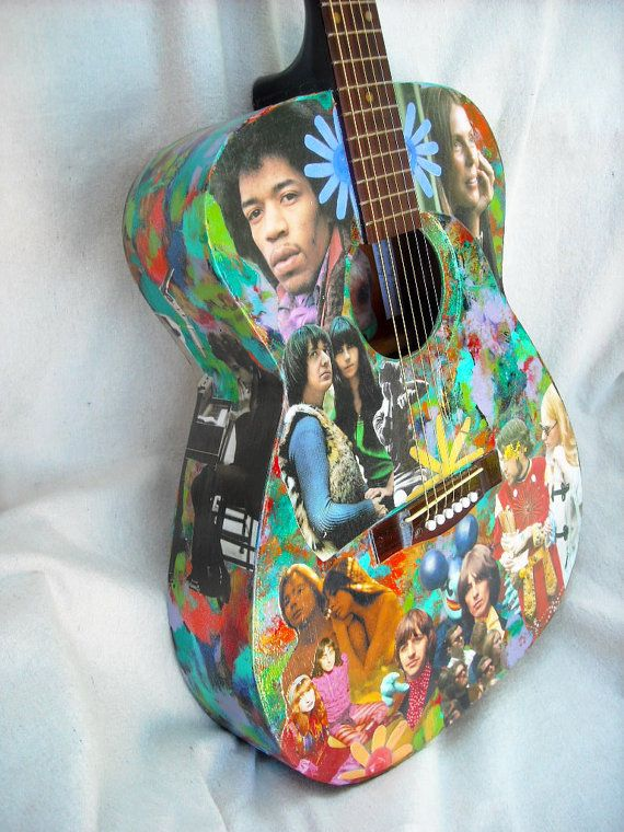 Playable acoustic guitar, with a hippie-themed decoupaged collage (Etsy)