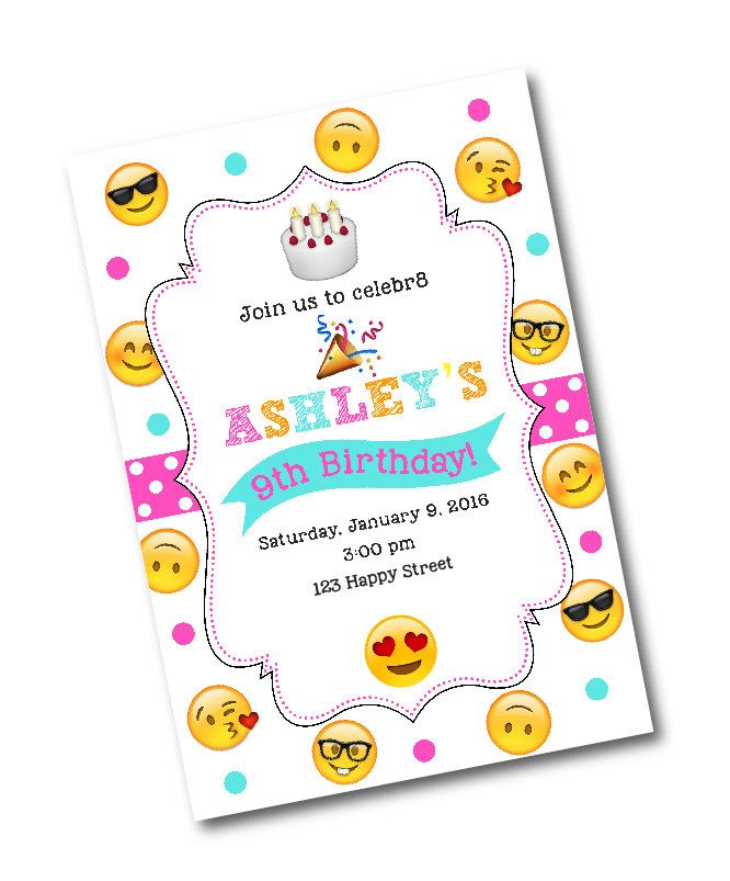 Emoji Birthday Party Invitation -Emoji birthday party -Emoji Party -CUSTOM DESIGN -Emojos -Smiley face emoji -Nerdy emoji -emoji invitation by CrystalScottDesigns on Etsy https://www.etsy.com/listing/261331421/emoji-birthday-party-invitation-emoji