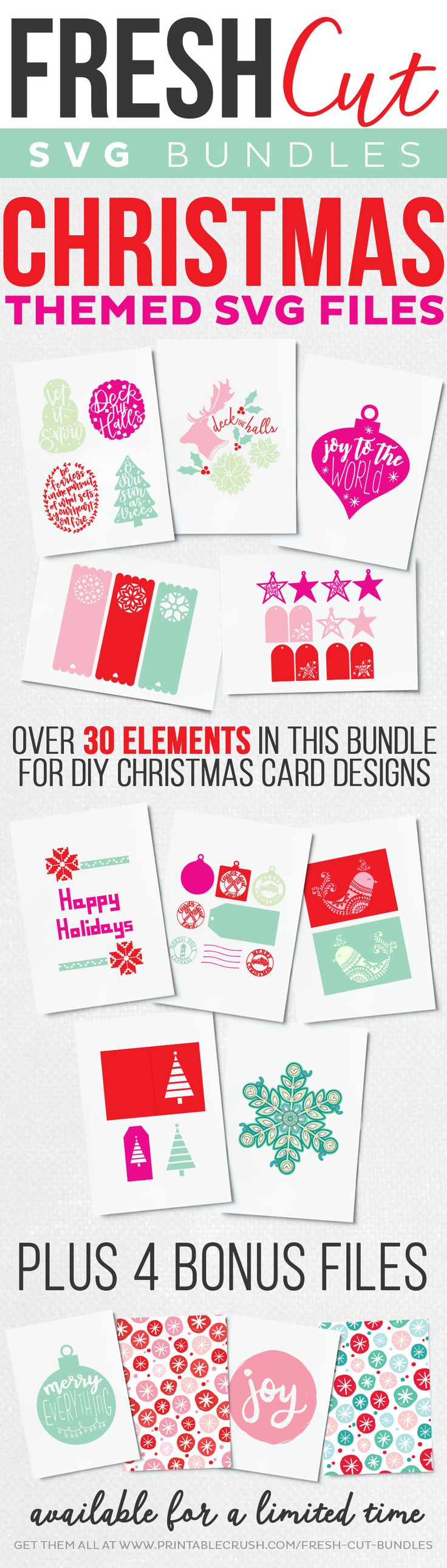 Make your holidays season a little brighter and merrier with this amazing bundle of TEN holiday card and gift tag SVG cut files! Ten of your favorite bloggers have come together to offer these incredible cards and gift tags in a special limited-edition bundle set, only available from November 15 to December 24 for a fraction of its retail value—so get it now before it's gone for good!