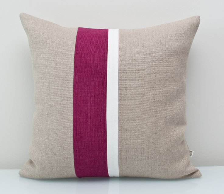 Purple pillow in 100%Linen. An ALL NATURAL Colorblock pillow using environmentally friendly fabrics. The bright white trim on natural linen base makes the deep plum colour pop. FREE customization available