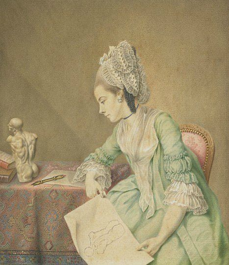 Nathaniel Dance, Portrait of Angelica Kauffmann, about 1764 - 1766. Watercolour on paper, 13.20 x 11.40 cm. National Galleries of Scotland.