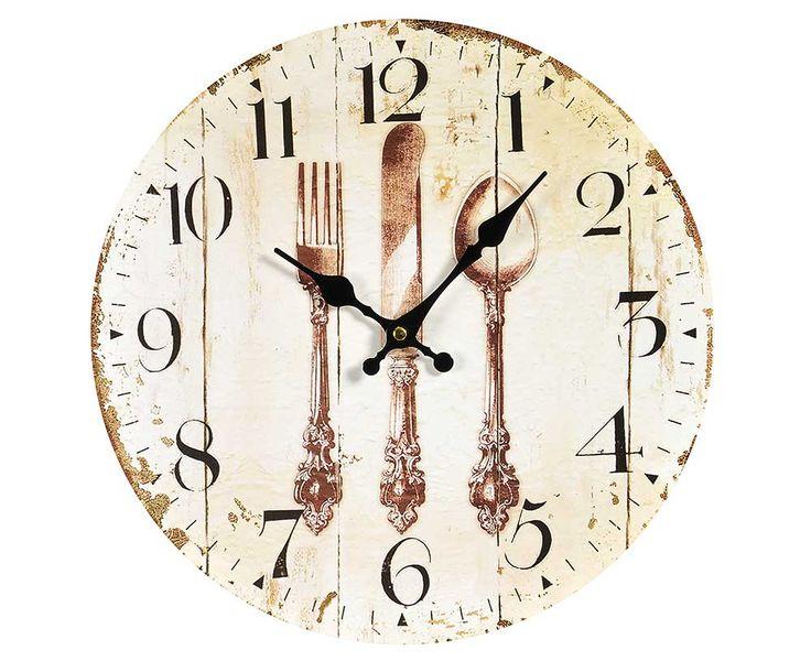 Zegar z motywem sztućów to wykonany z płyty drewnopochodnej zegar #Belldeco z czarnymi, metalowymi wskazówkami. Grafika znajdująca się na zegarze jest stylowo przecierana, co wygląda bardzo efektownie.